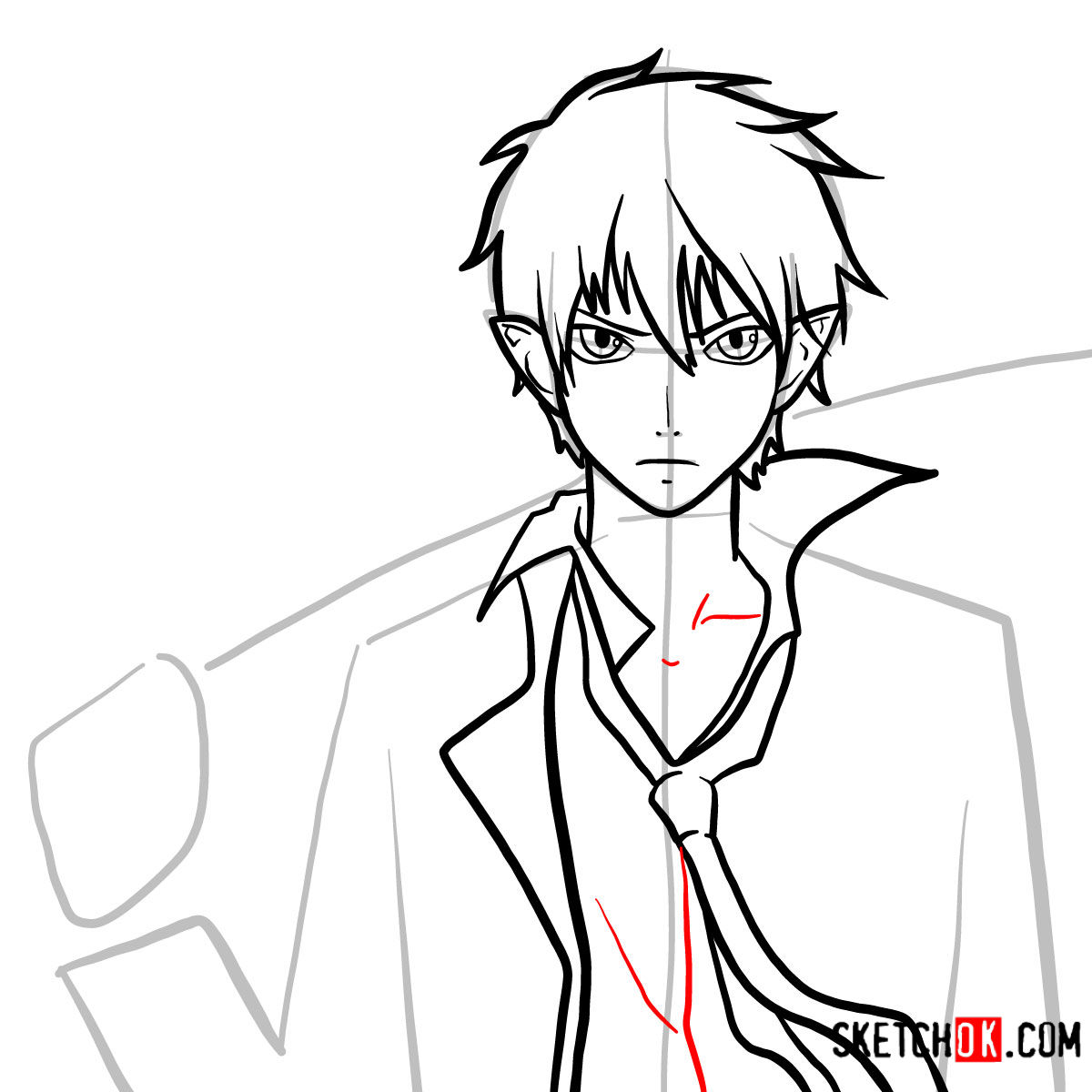 How to draw Yukio Okumura with a sword | Blue Exorcist - step 09