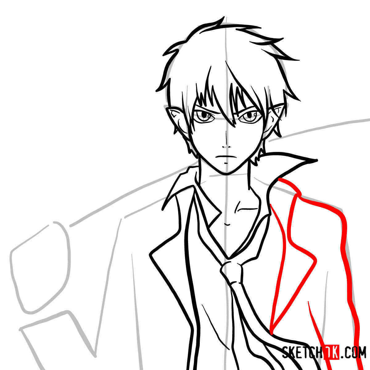 How to draw Yukio Okumura with a sword | Blue Exorcist - step 10