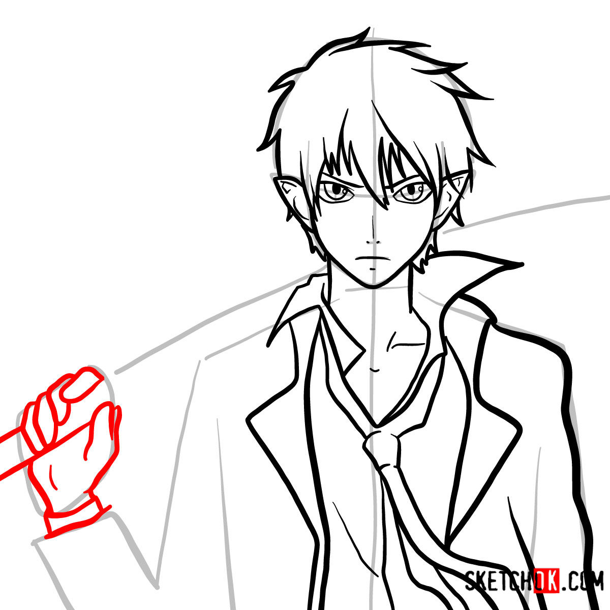 How to draw Yukio Okumura with a sword | Blue Exorcist - step 11