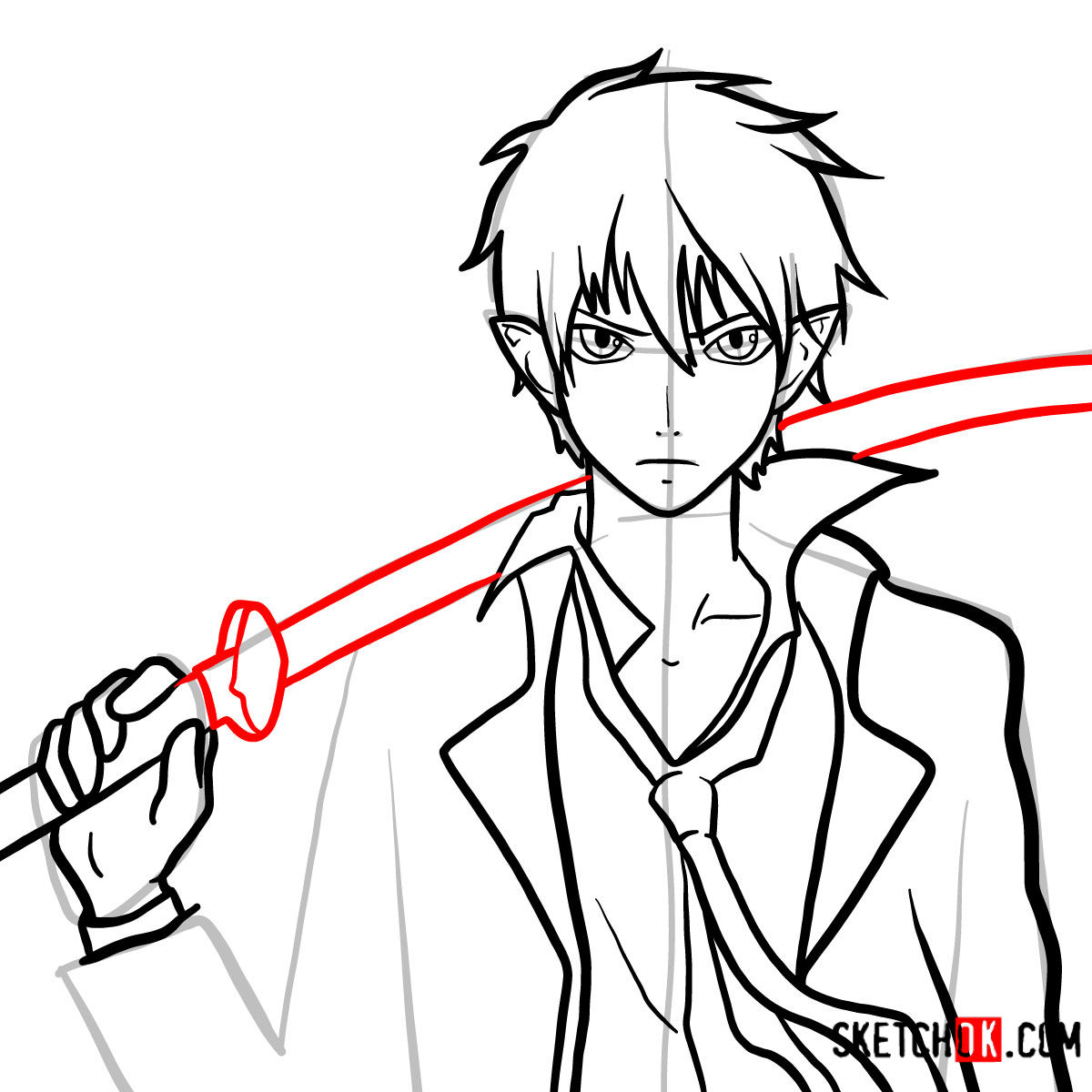 How to draw Yukio Okumura with a sword | Blue Exorcist - step 12