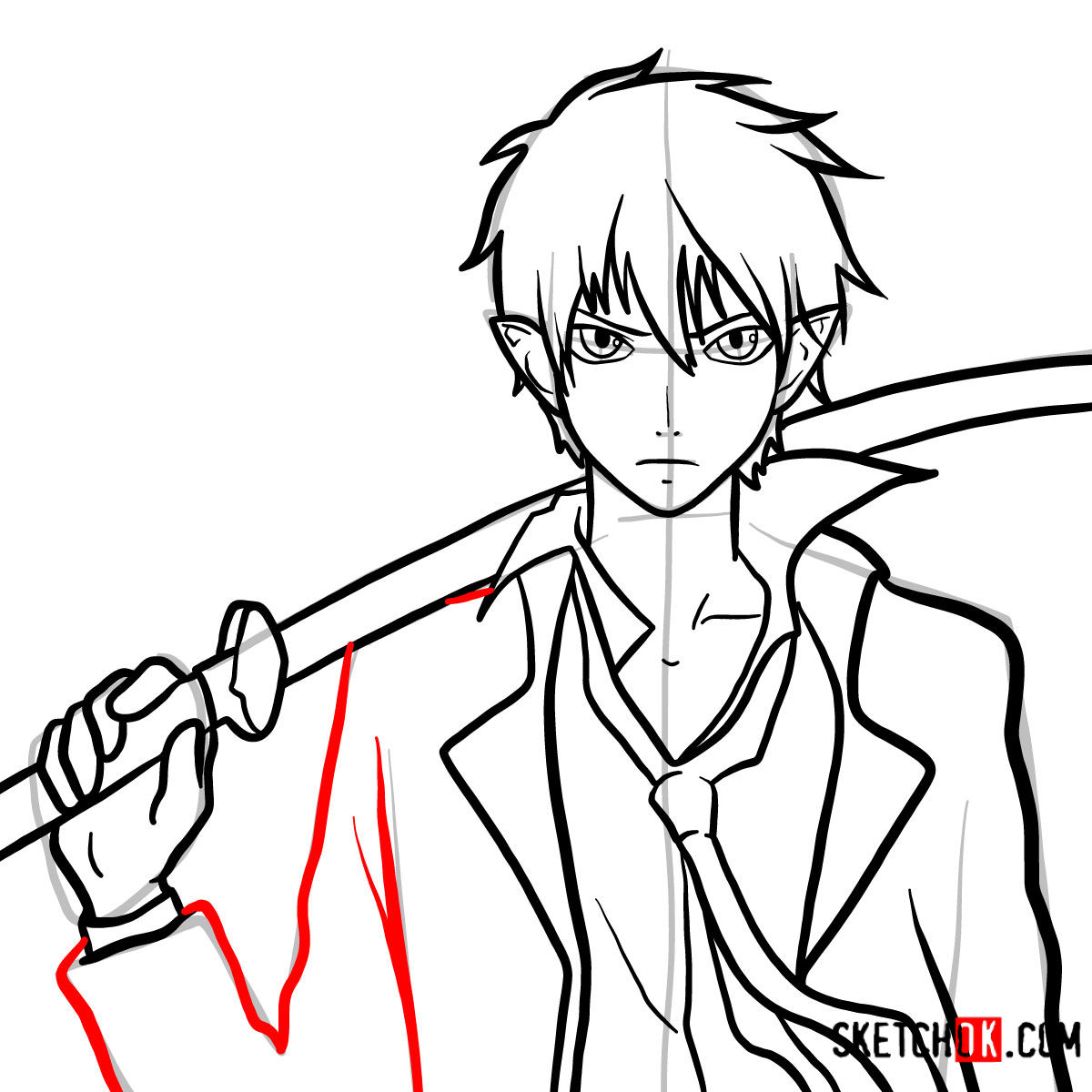 How to draw Yukio Okumura with a sword | Blue Exorcist - step 13