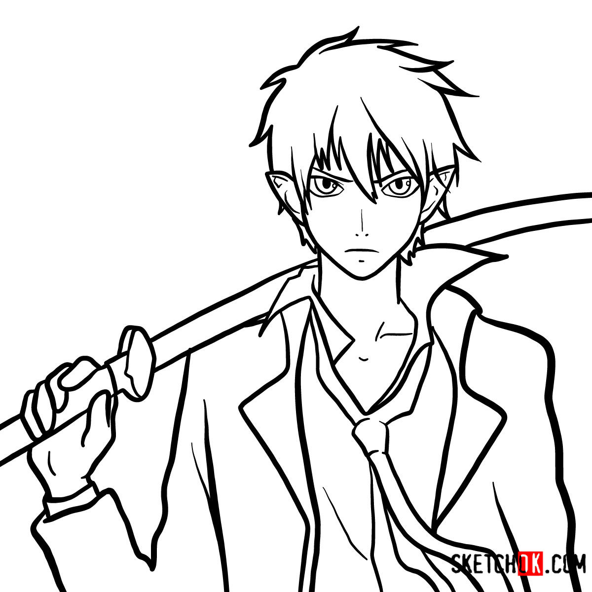How to draw Yukio Okumura with a sword