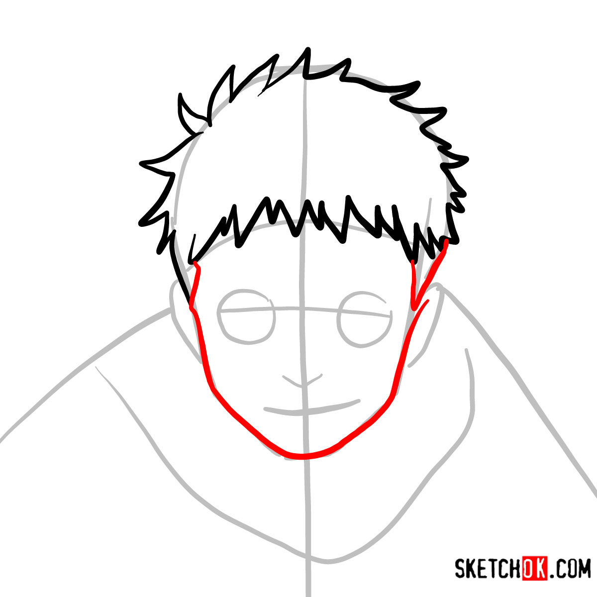 How to draw Shiro Fujimoto | Blue Exorcist - step 04