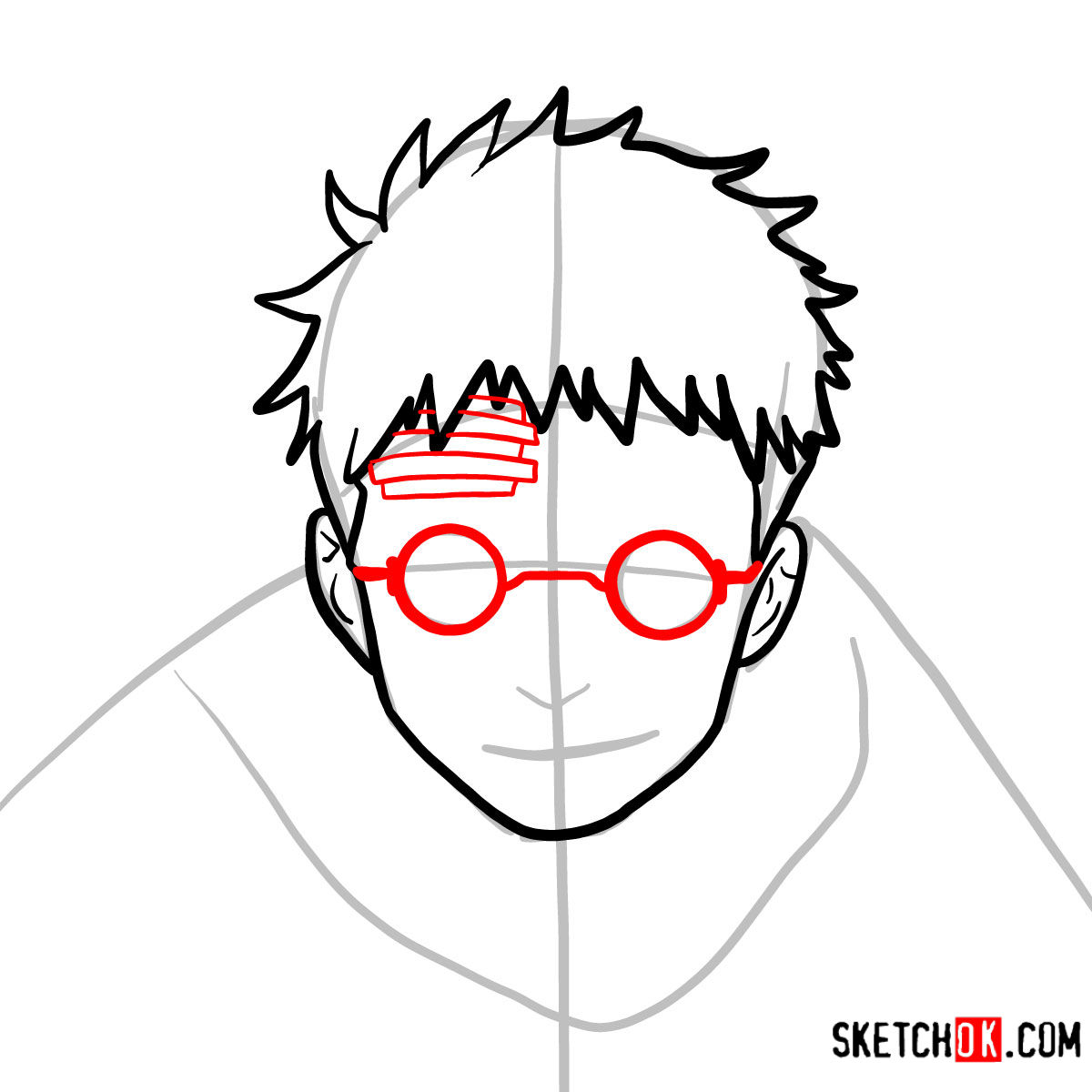 How to draw Shiro Fujimoto | Blue Exorcist - step 06