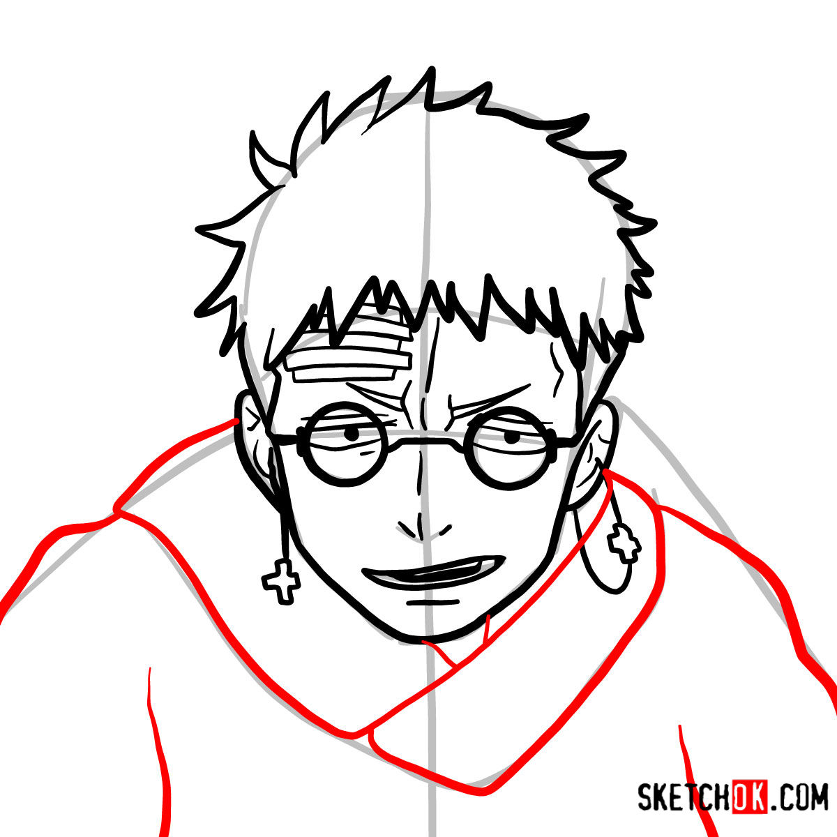 How to draw Shiro Fujimoto | Blue Exorcist - step 09