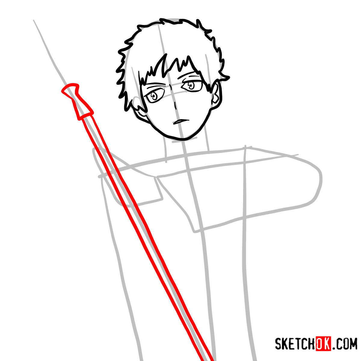 How to draw Renzo Shima | Blue Exorcist - step 06