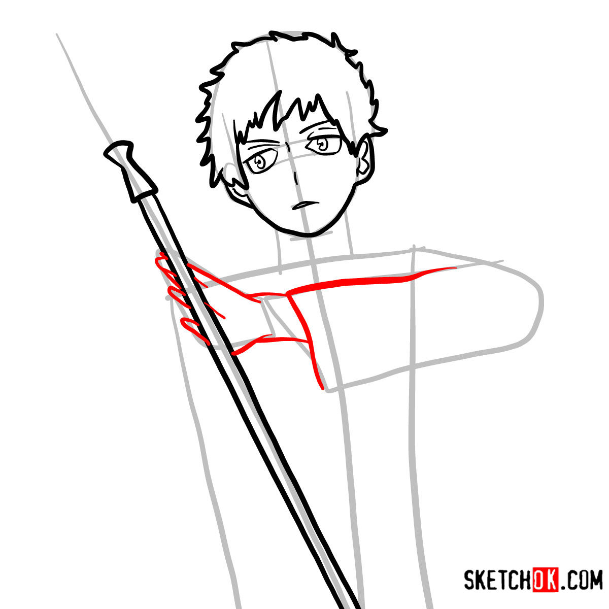 How to draw Renzo Shima | Blue Exorcist - step 07