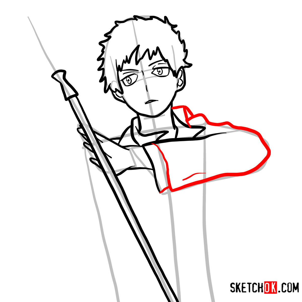 How to draw Renzo Shima | Blue Exorcist - step 09
