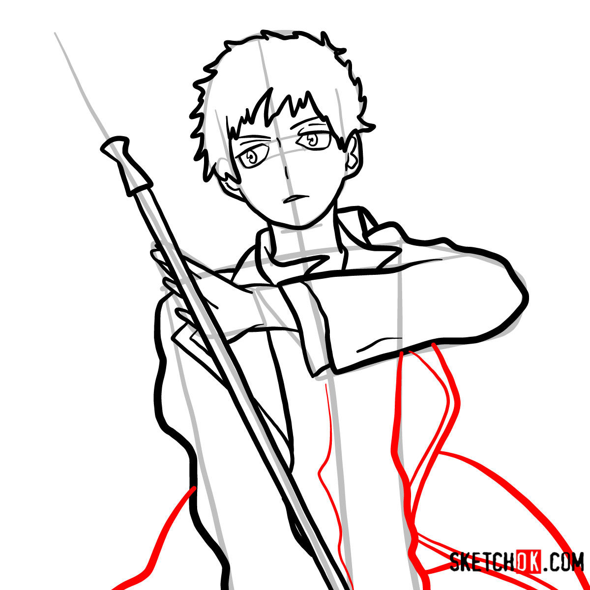 How to draw Renzo Shima | Blue Exorcist - step 11