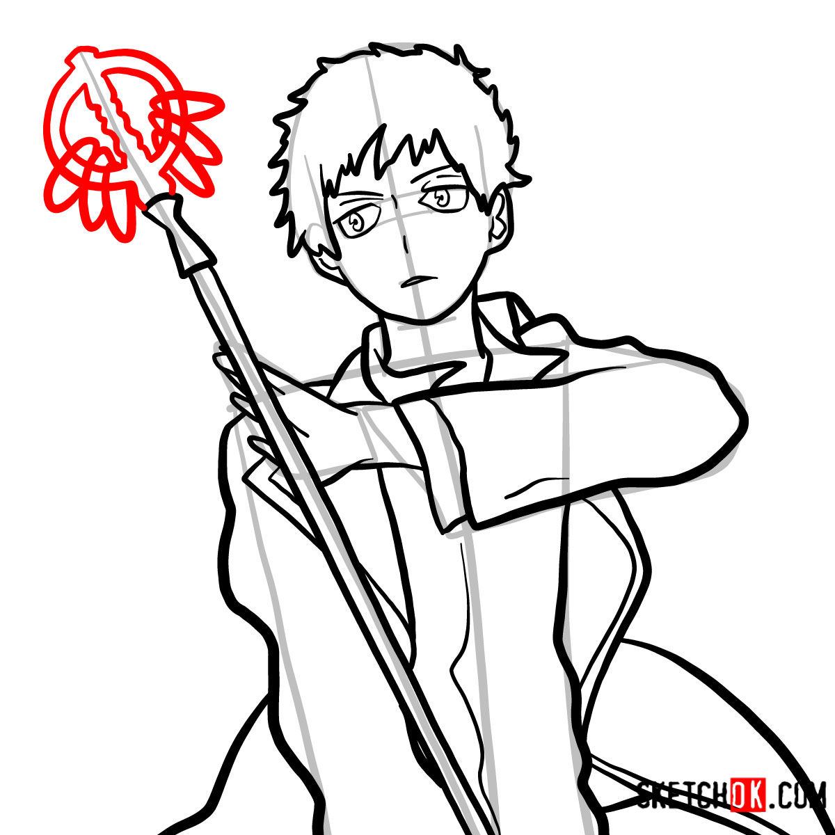 How to draw Renzo Shima | Blue Exorcist - step 12