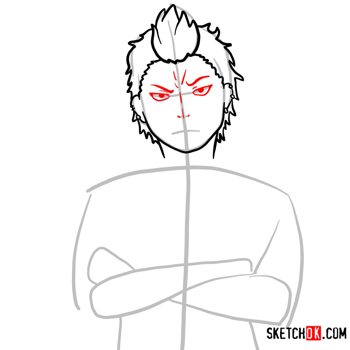How to draw Ryuji Suguro | Blue Exorcist - step 06