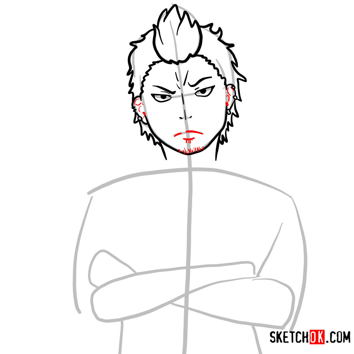 How to draw Ryuji Suguro | Blue Exorcist - step 07