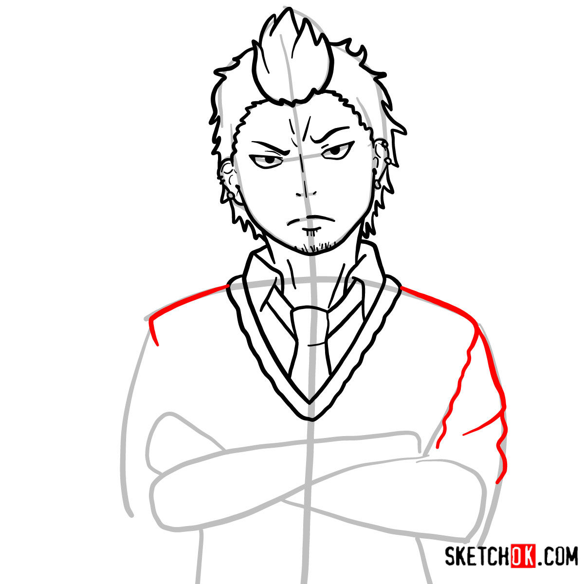 How to draw Ryuji Suguro | Blue Exorcist - step 09