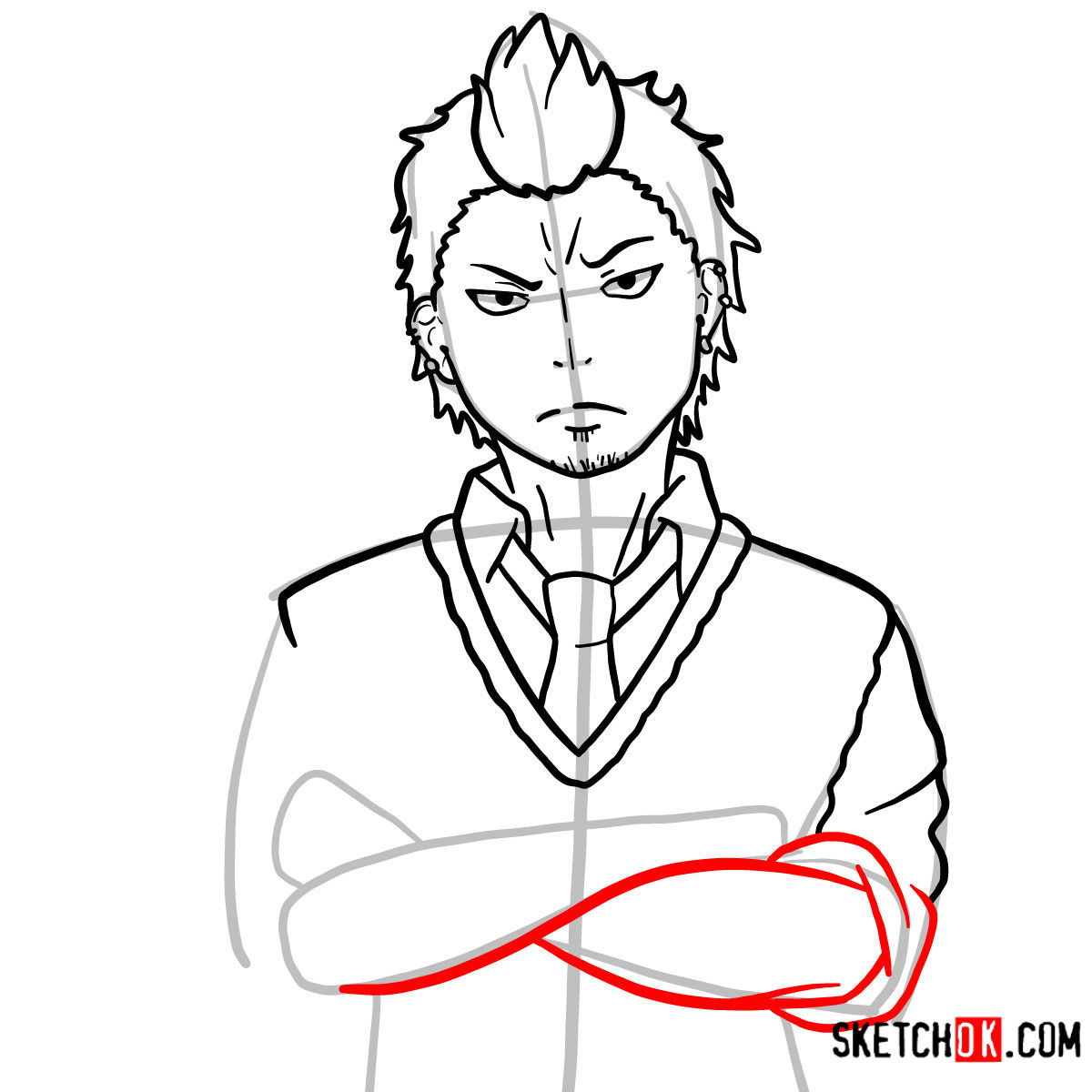 How to draw Ryuji Suguro | Blue Exorcist - step 10
