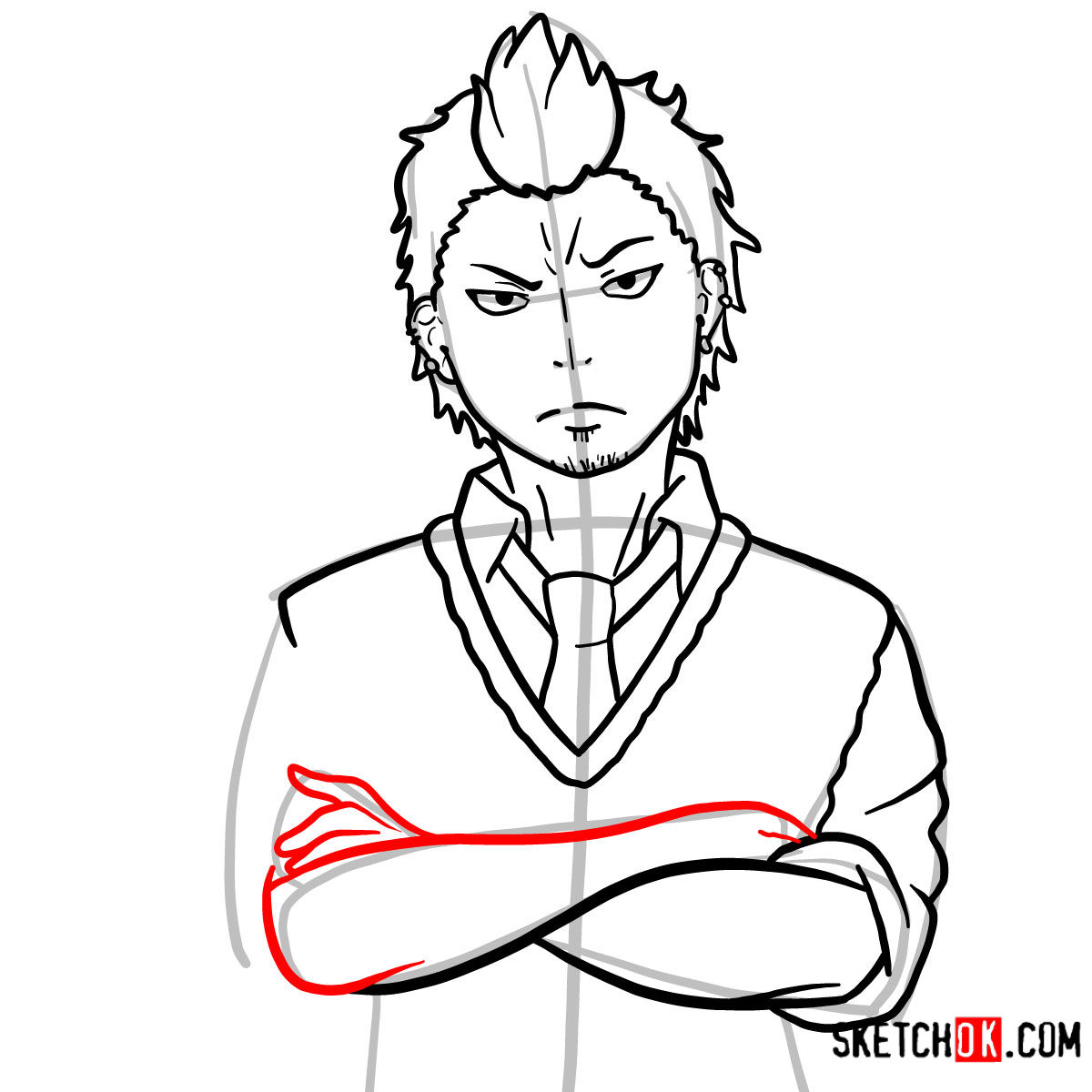 How to draw Ryuji Suguro | Blue Exorcist - step 11