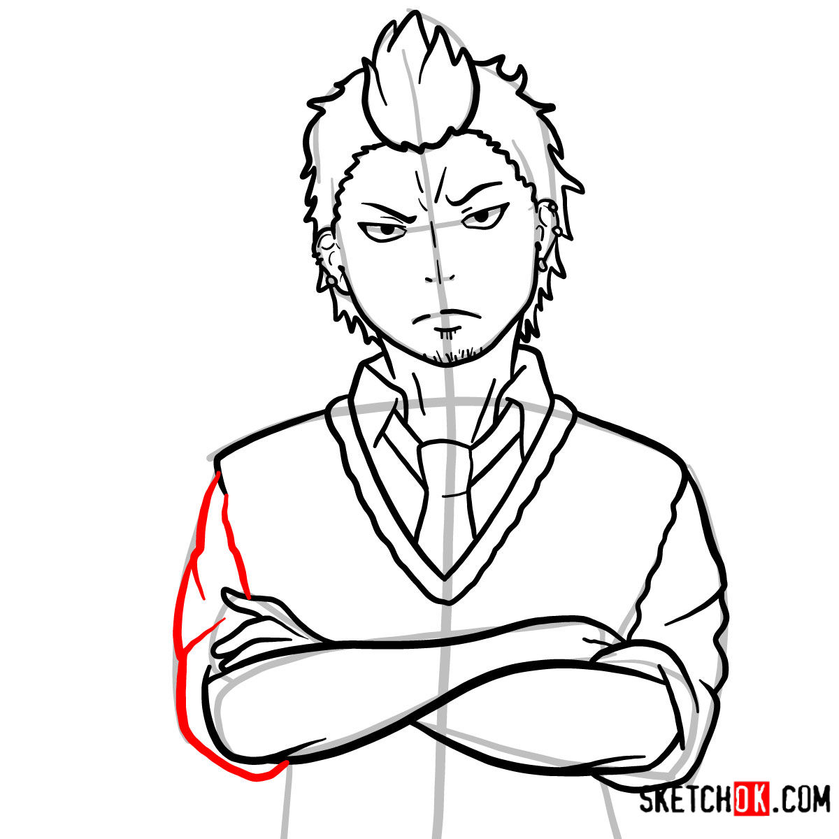 How to draw Ryuji Suguro | Blue Exorcist - step 12