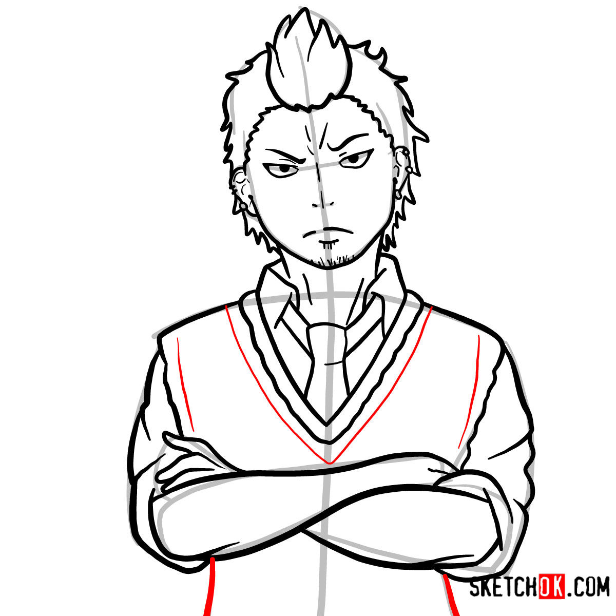 How to draw Ryuji Suguro | Blue Exorcist - step 13
