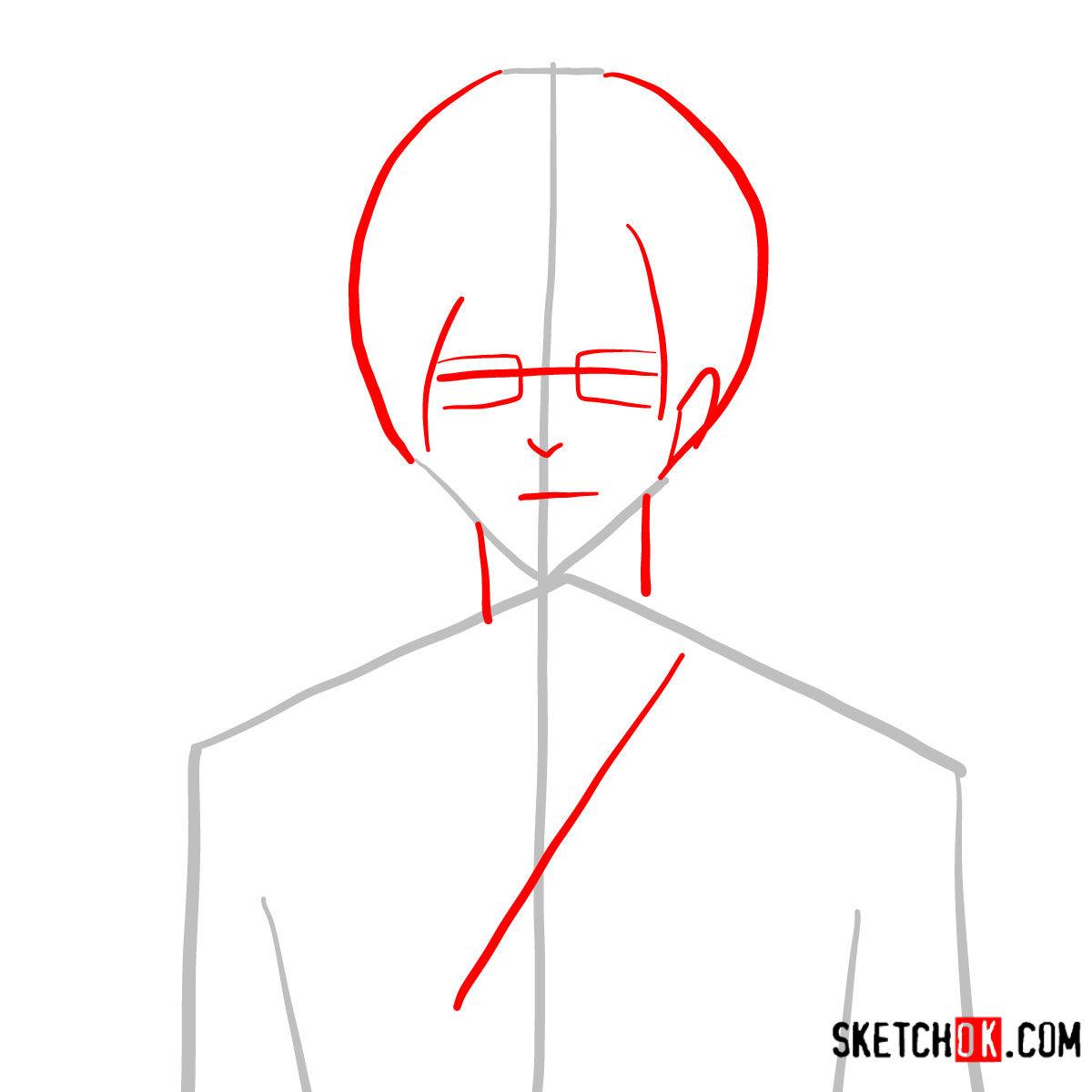 How to draw Yukio Okumura | Blue Exorcist - step 02