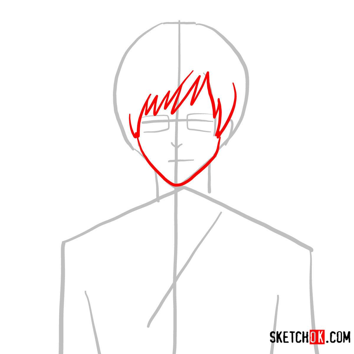 How to draw Yukio Okumura | Blue Exorcist - step 03