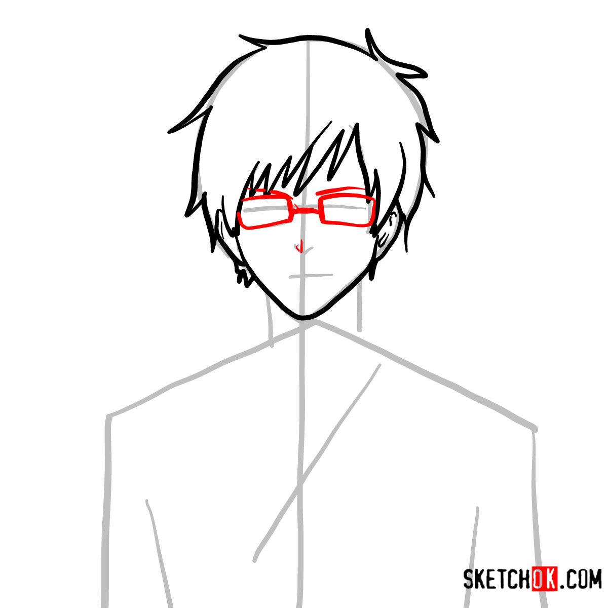 How to draw Yukio Okumura | Blue Exorcist - step 05