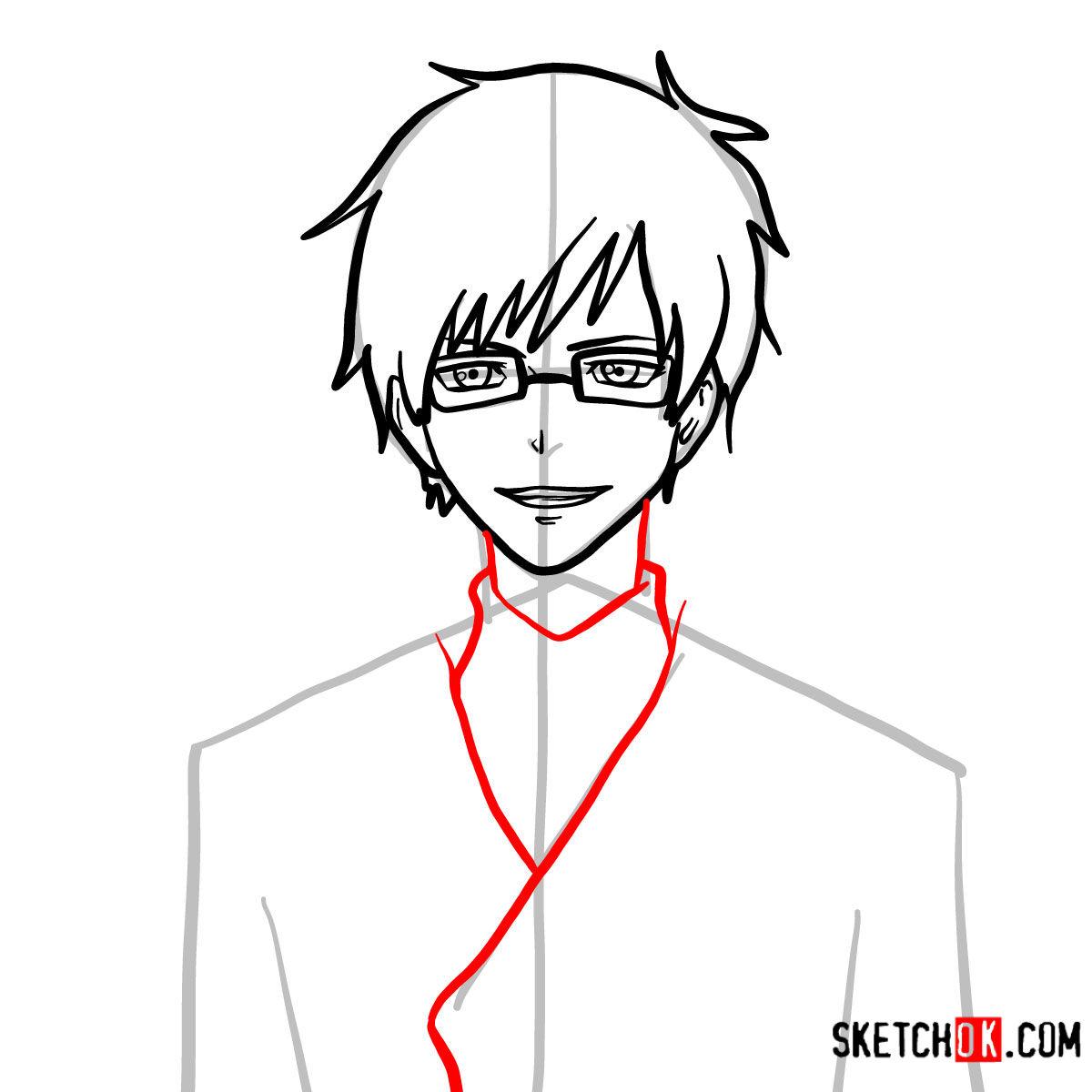 How to draw Yukio Okumura | Blue Exorcist - step 07