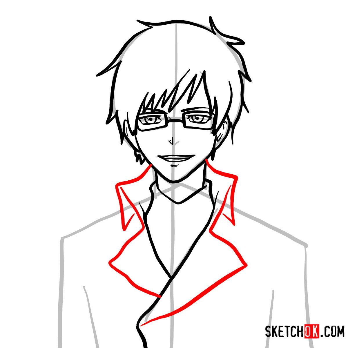 How to draw Yukio Okumura | Blue Exorcist - step 08