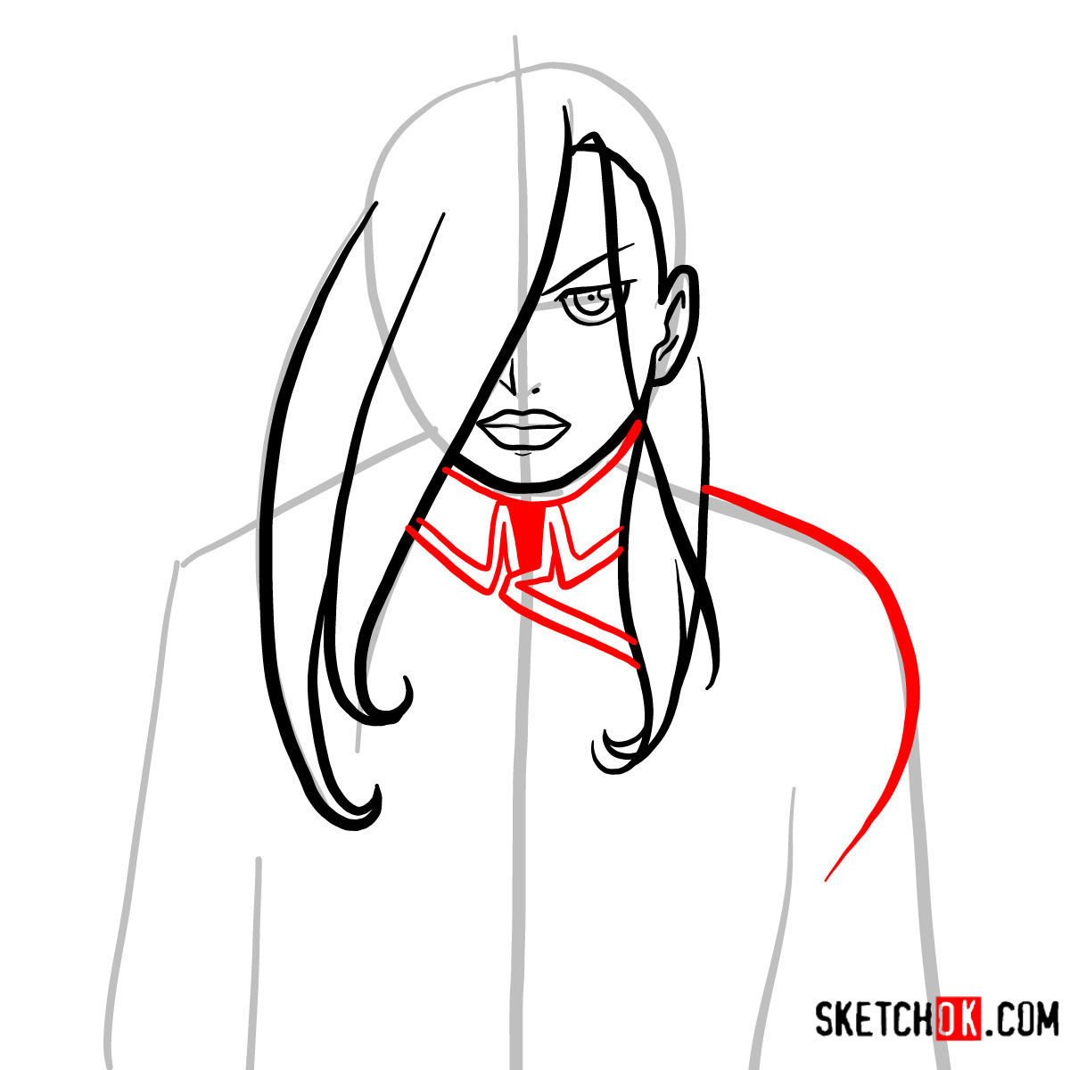 How to draw Olivier Mira Armstrong | Fullmetal Alchemist - step 07