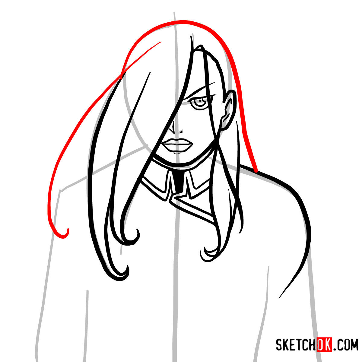 How to draw Olivier Mira Armstrong | Fullmetal Alchemist - step 08