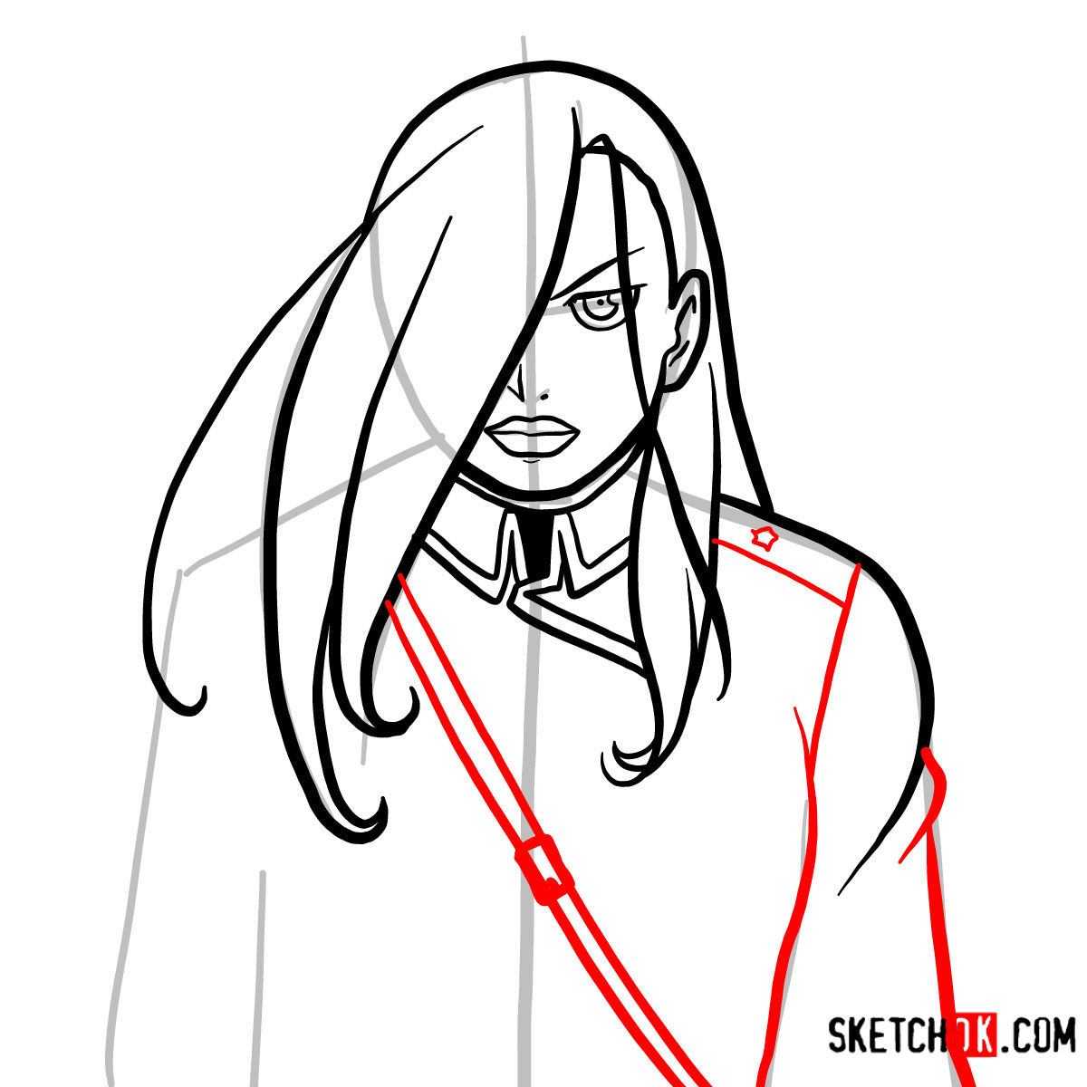 How to draw Olivier Mira Armstrong | Fullmetal Alchemist - step 09