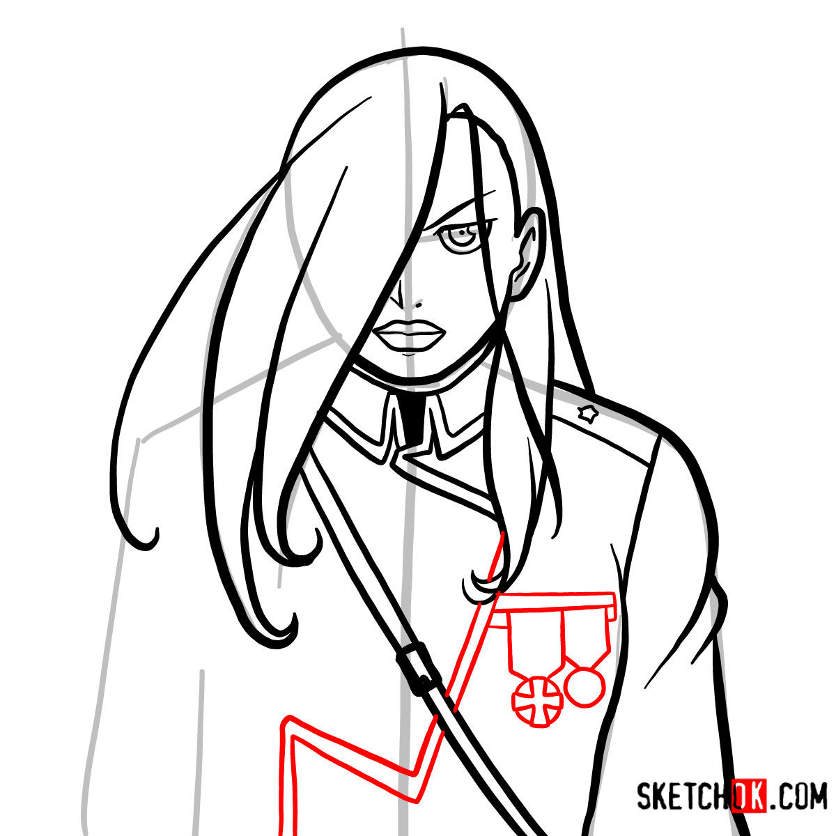 How to draw Olivier Mira Armstrong | Fullmetal Alchemist - step 10