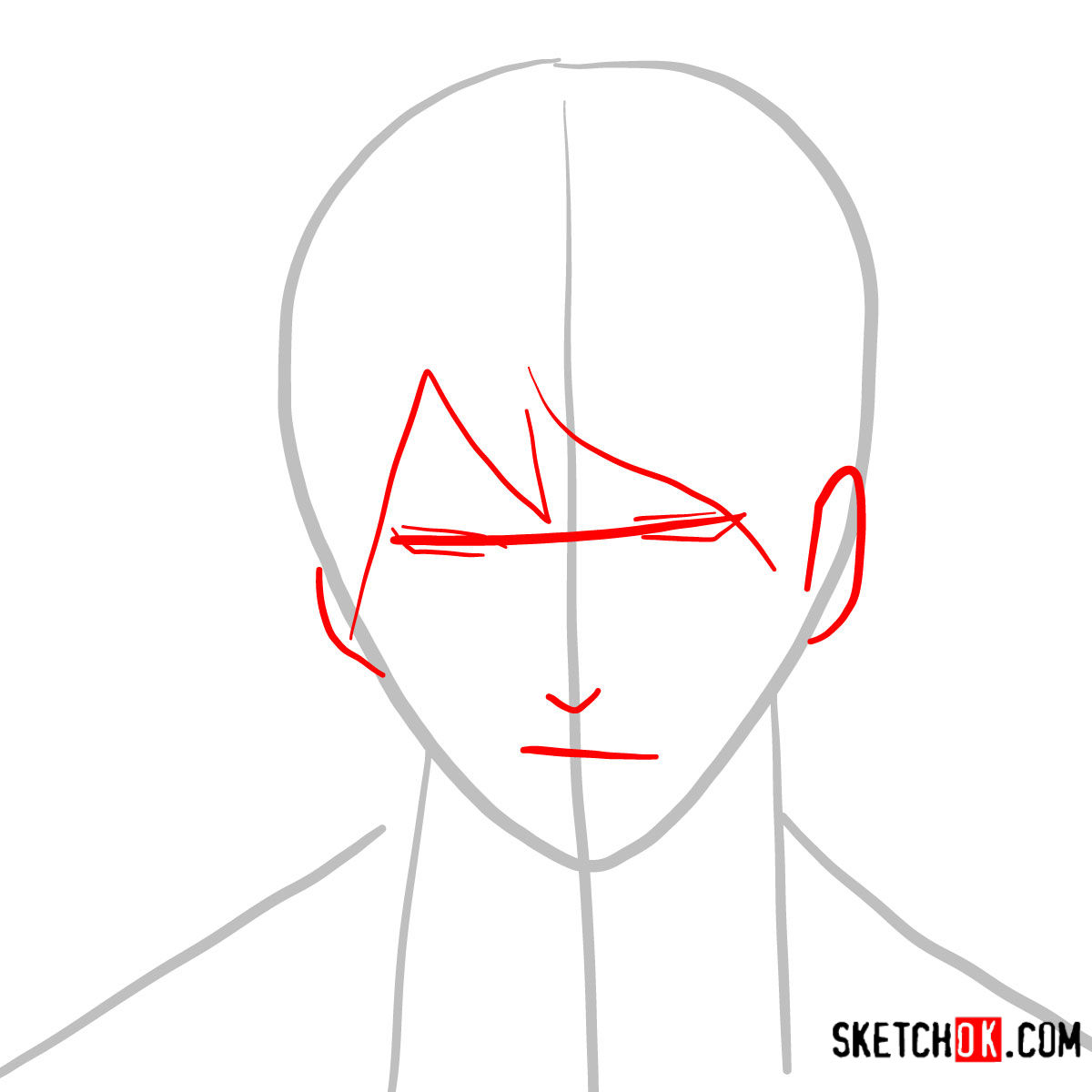 How to draw Roy Mustang's face | Fullmetal Alchemist - step 02