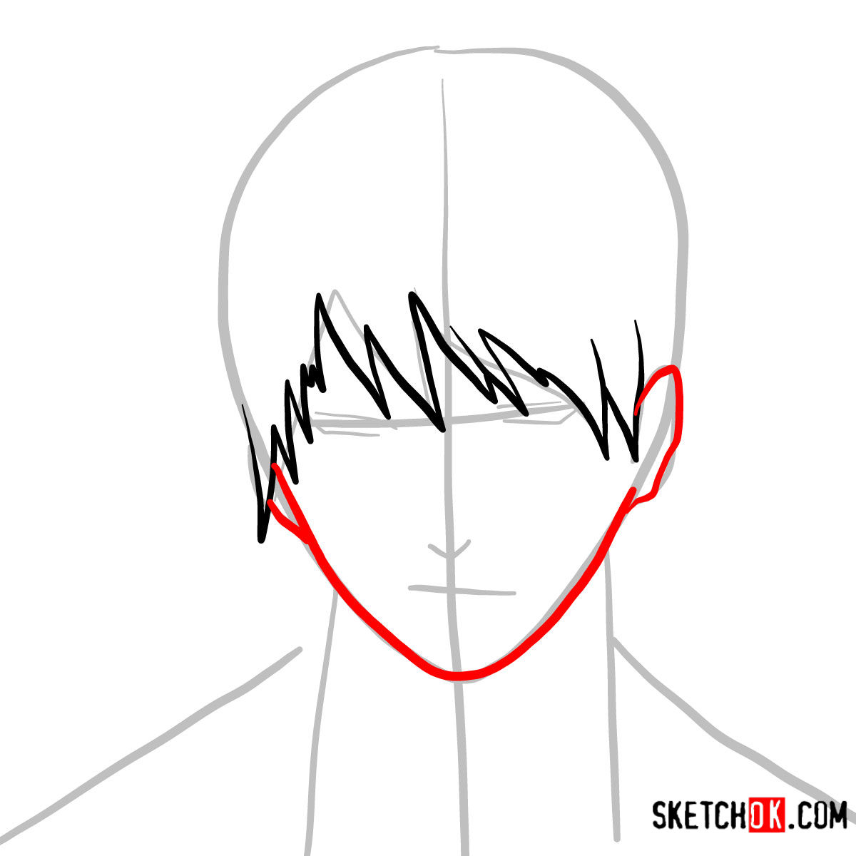 How to draw Roy Mustang's face | Fullmetal Alchemist - step 04