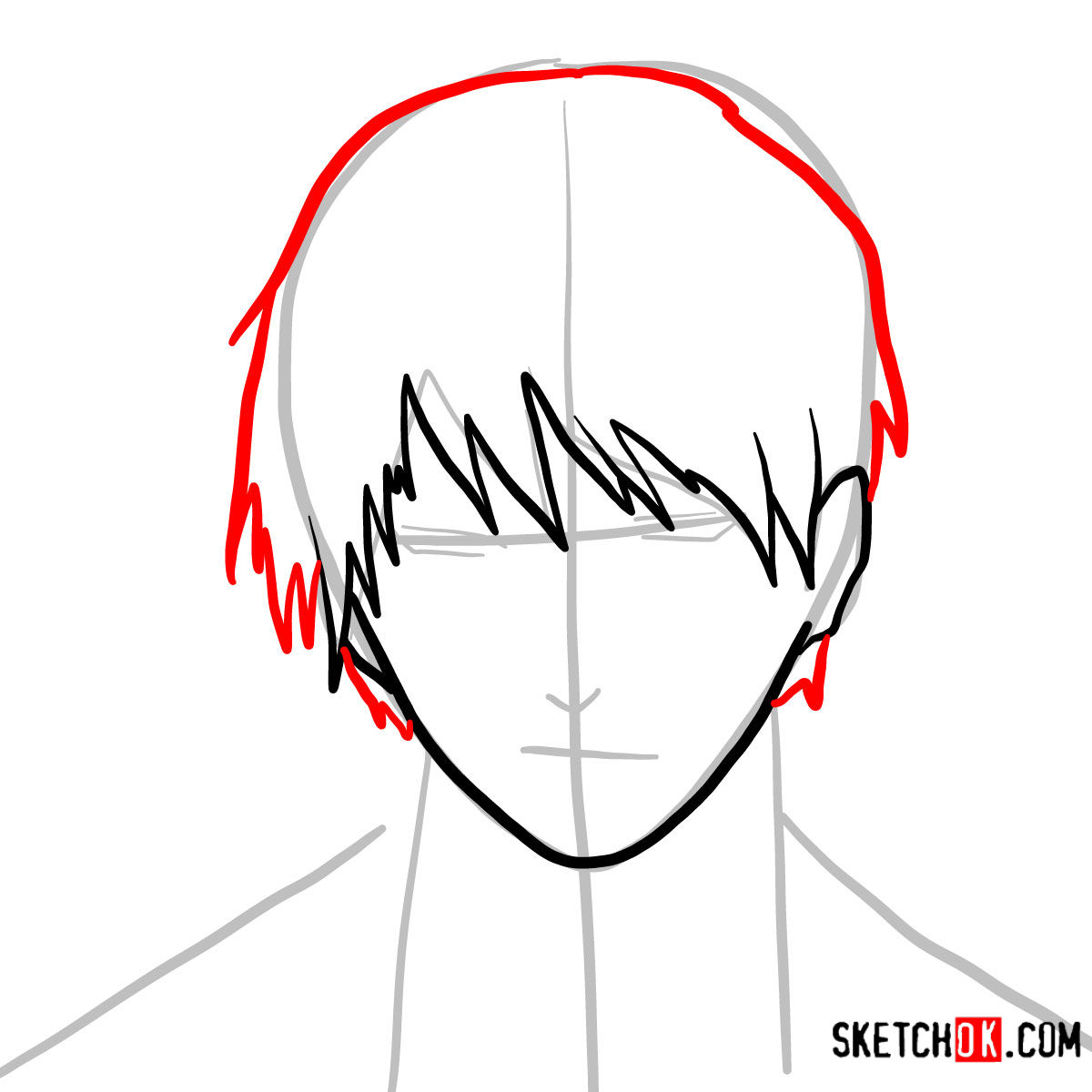 How to draw Roy Mustang's face | Fullmetal Alchemist - step 05