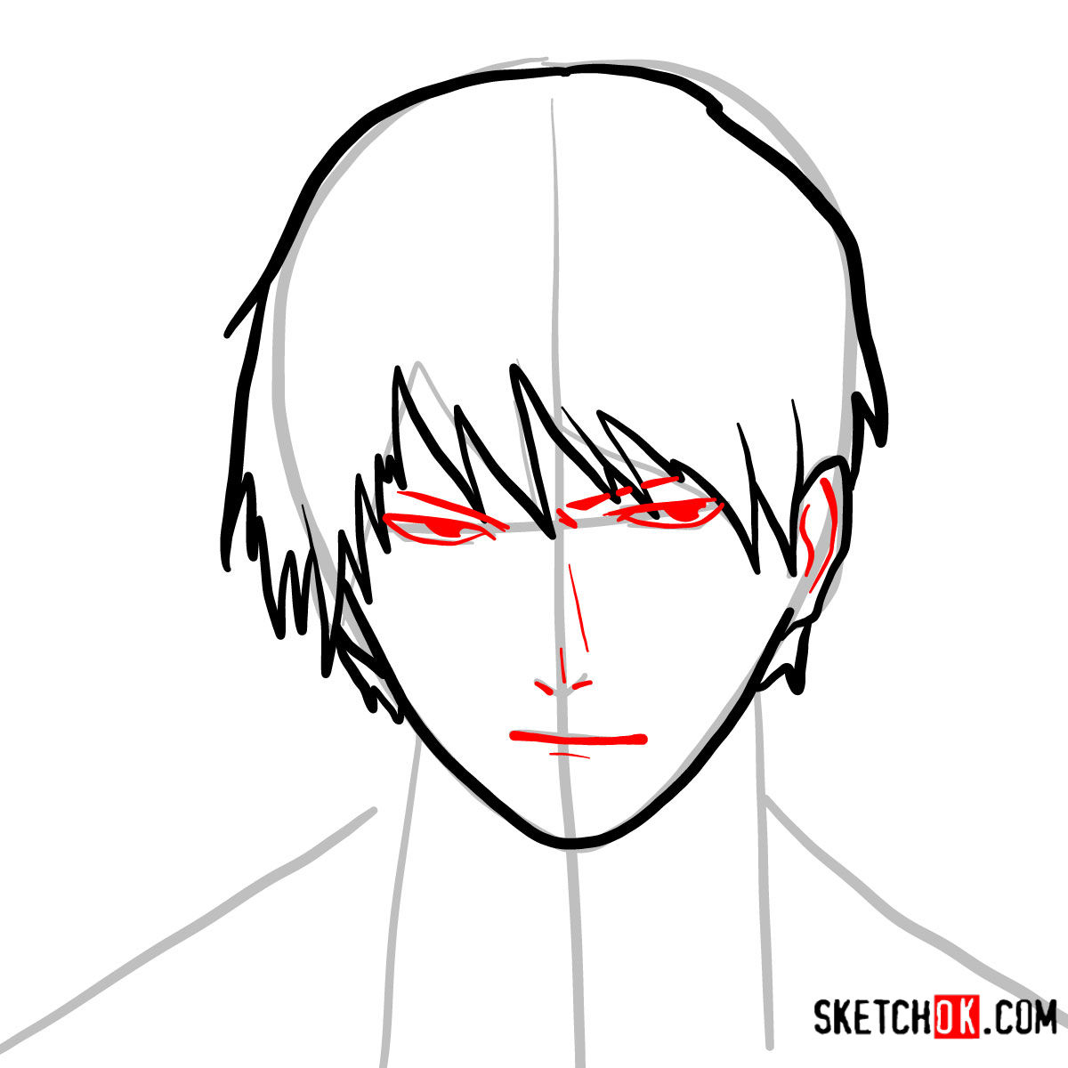 How to draw Roy Mustang's face | Fullmetal Alchemist - step 06