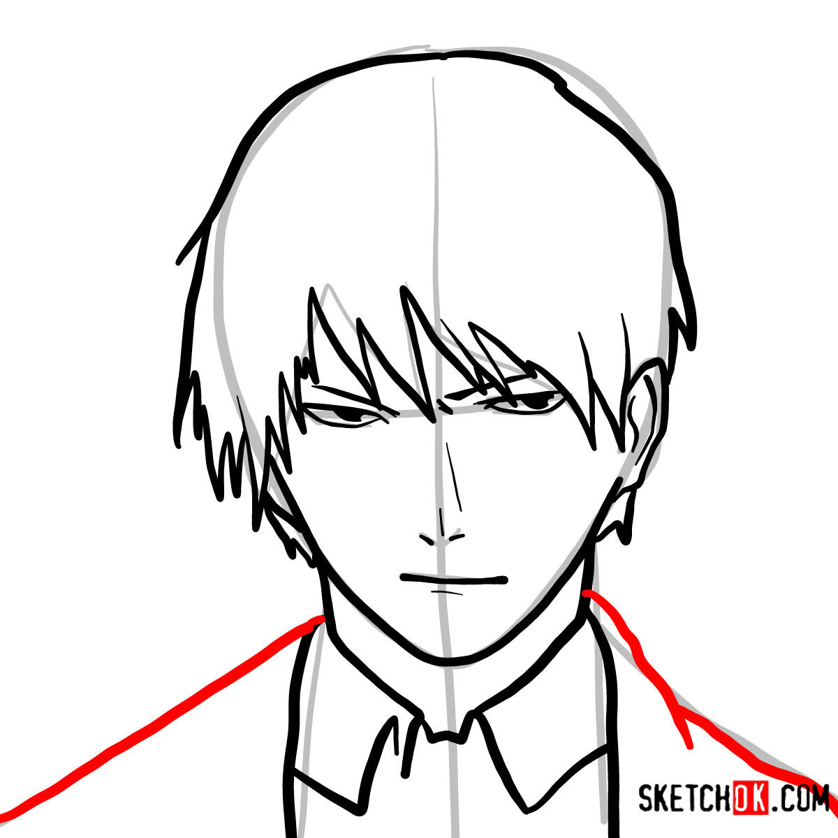 How to draw Roy Mustang's face | Fullmetal Alchemist - step 08