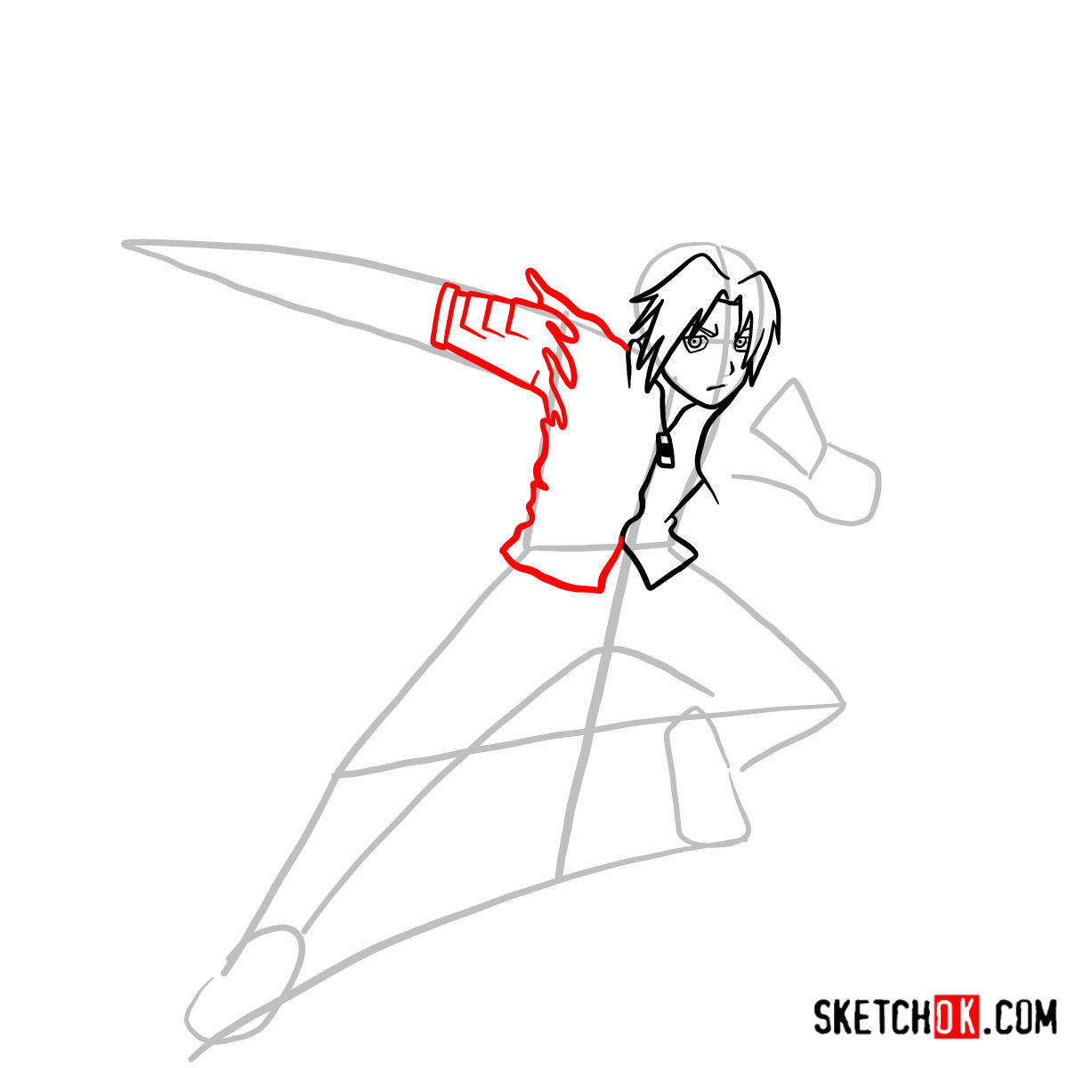 How to draw Edward Elric in a fight | Fullmetal Alchemist - step 06