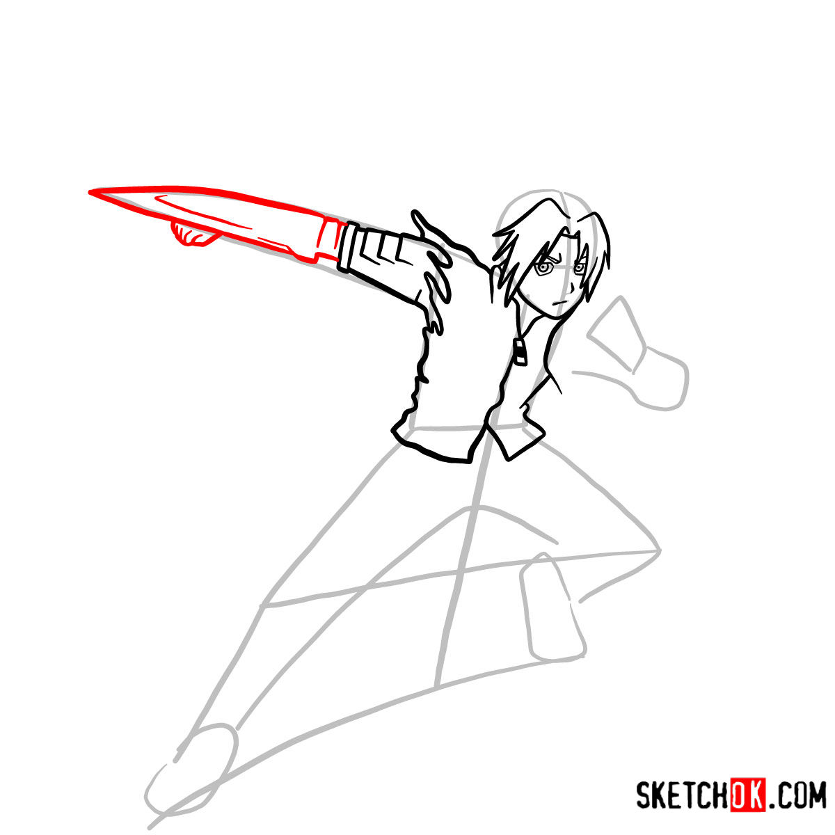 How to draw Edward Elric in a fight | Fullmetal Alchemist - step 07