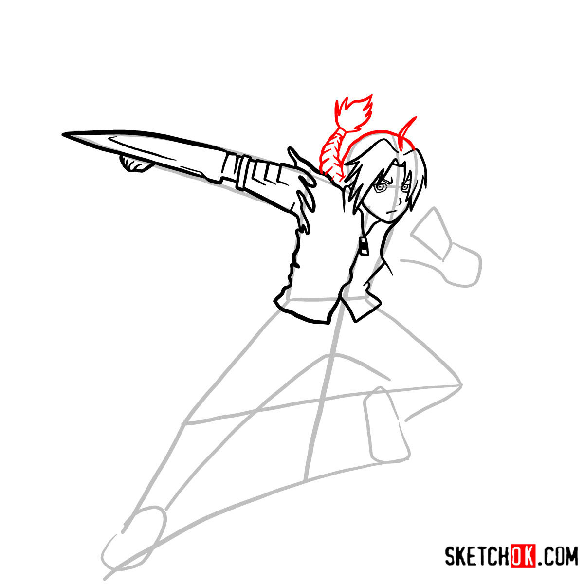 How to draw Edward Elric in a fight | Fullmetal Alchemist - step 08
