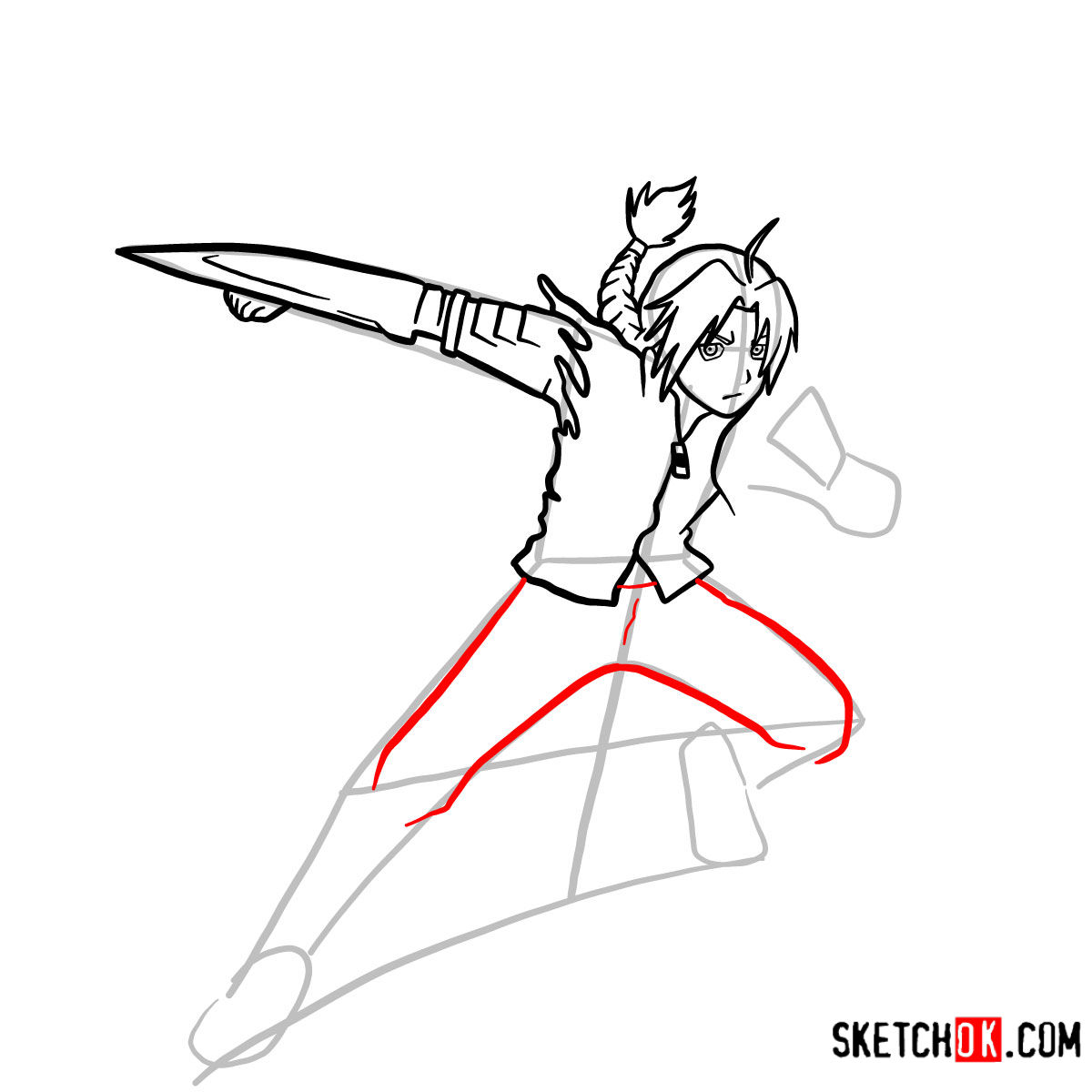How to draw Edward Elric in a fight | Fullmetal Alchemist - step 09
