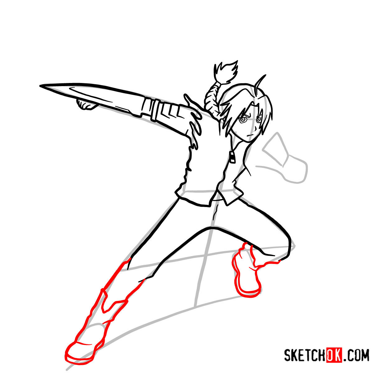 How to draw Edward Elric in a fight | Fullmetal Alchemist - step 10