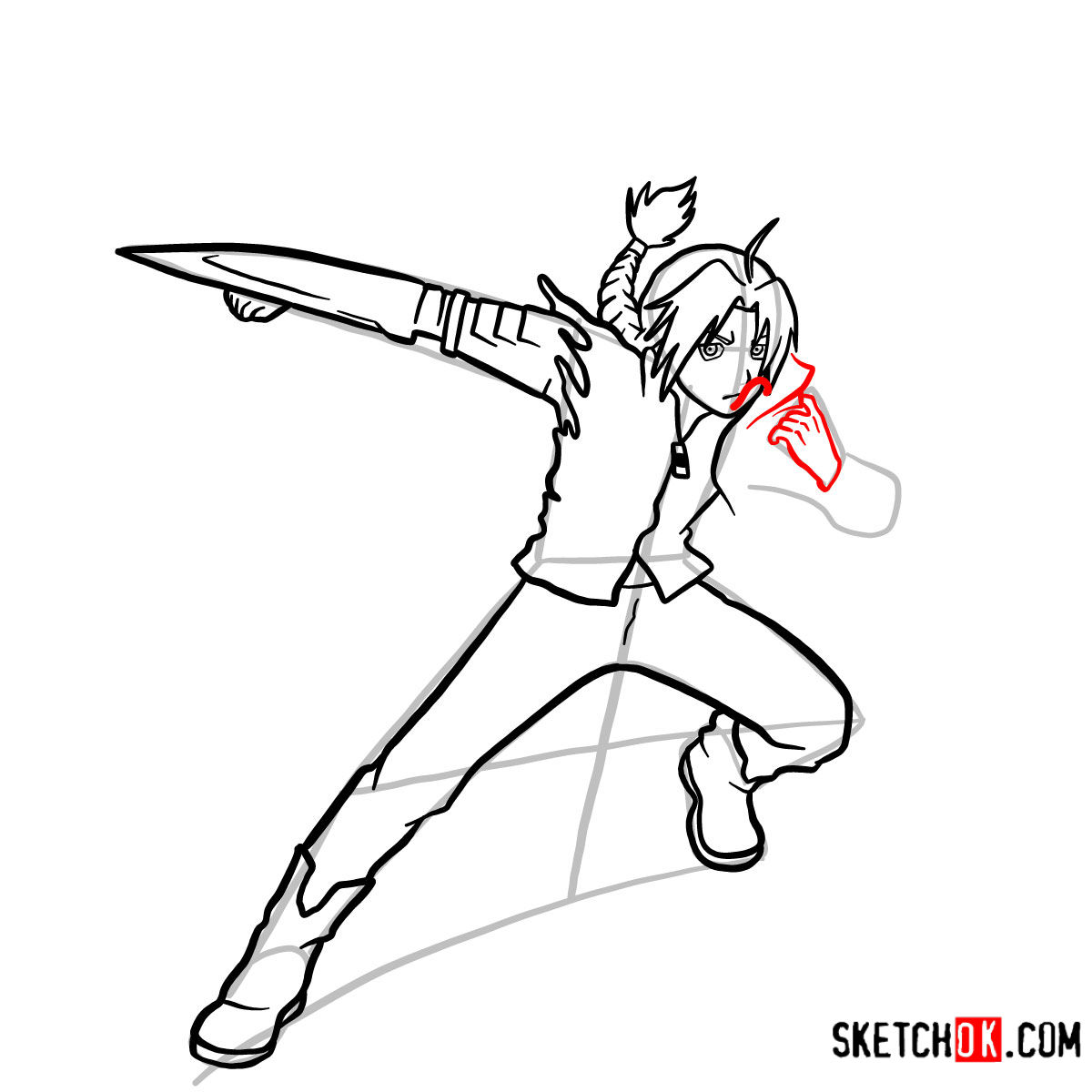 How to draw Edward Elric in a fight | Fullmetal Alchemist - step 11