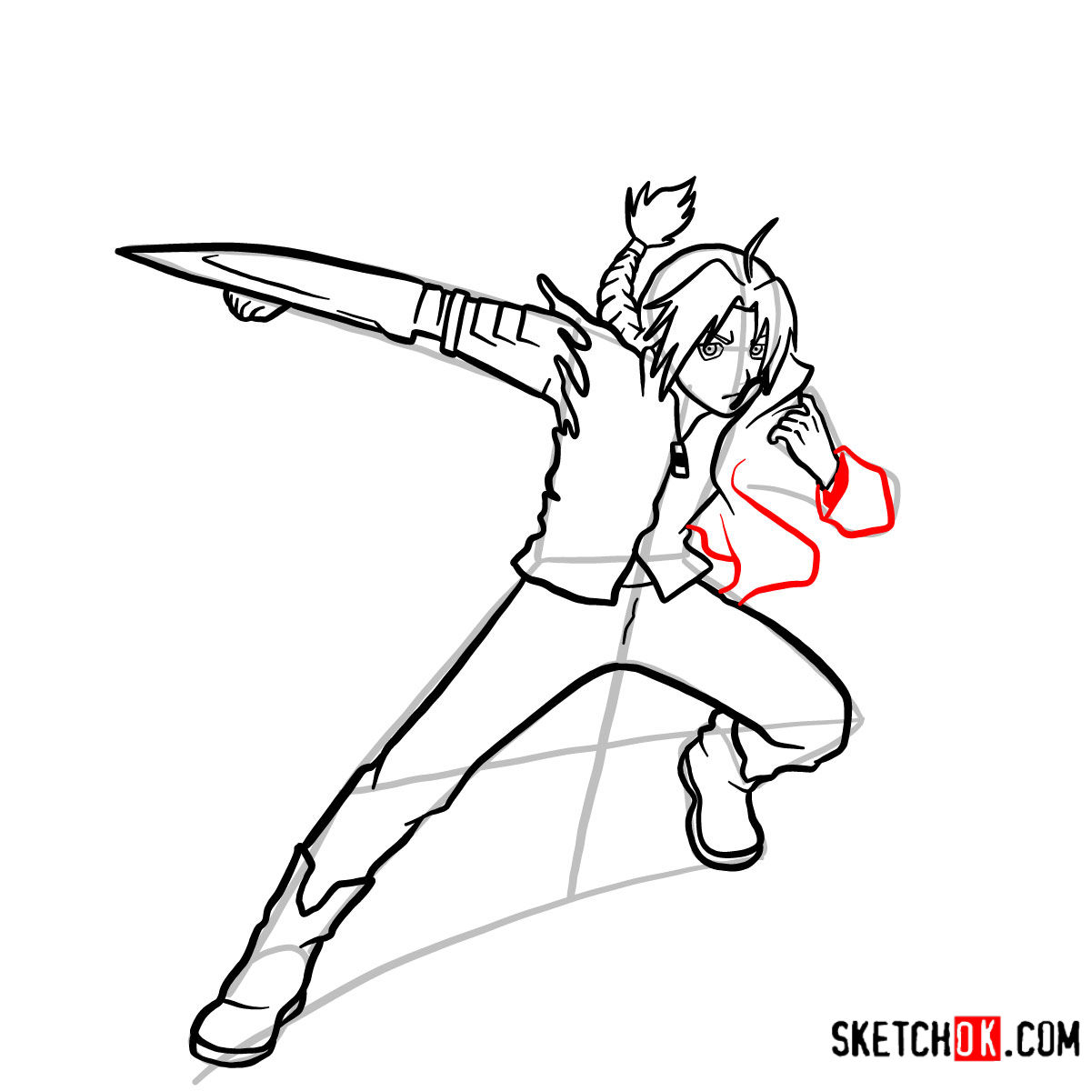 How to draw Edward Elric in a fight | Fullmetal Alchemist - step 12