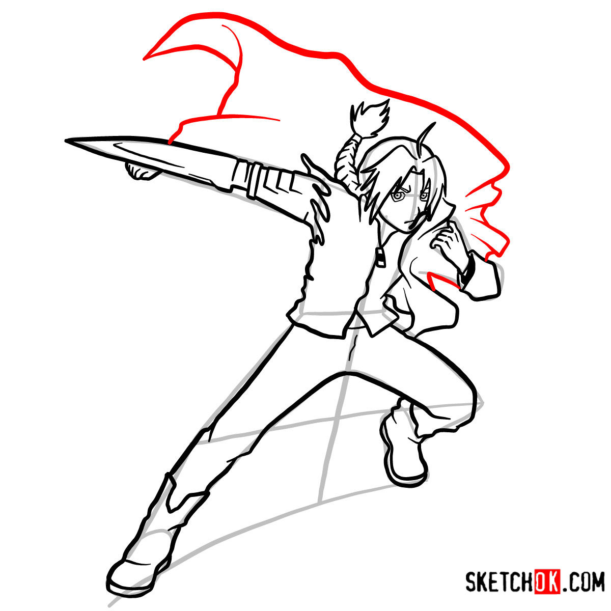 How to draw Edward Elric in a fight | Fullmetal Alchemist - step 13