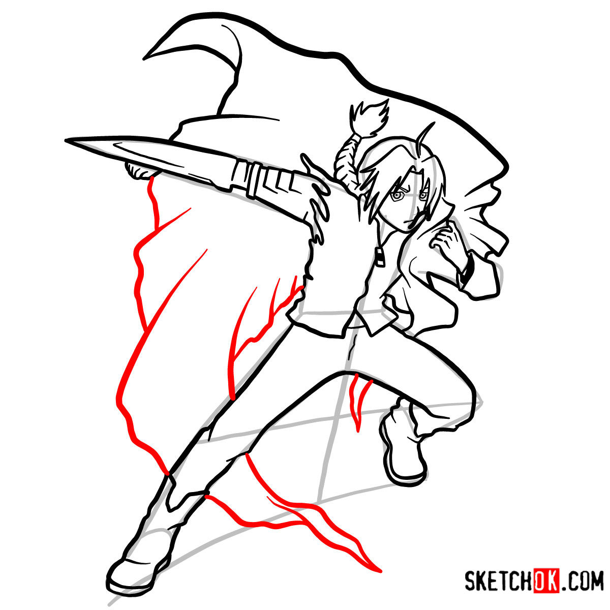 How to draw Edward Elric in a fight | Fullmetal Alchemist - step 14
