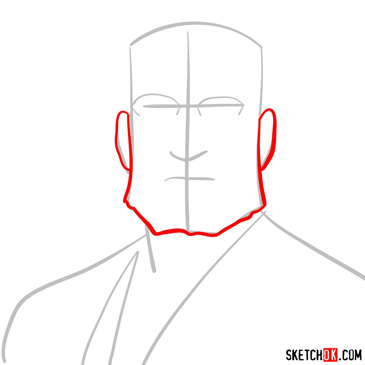 How to draw Van Hohenheim from Fullmetal Alchemist anime - step 03