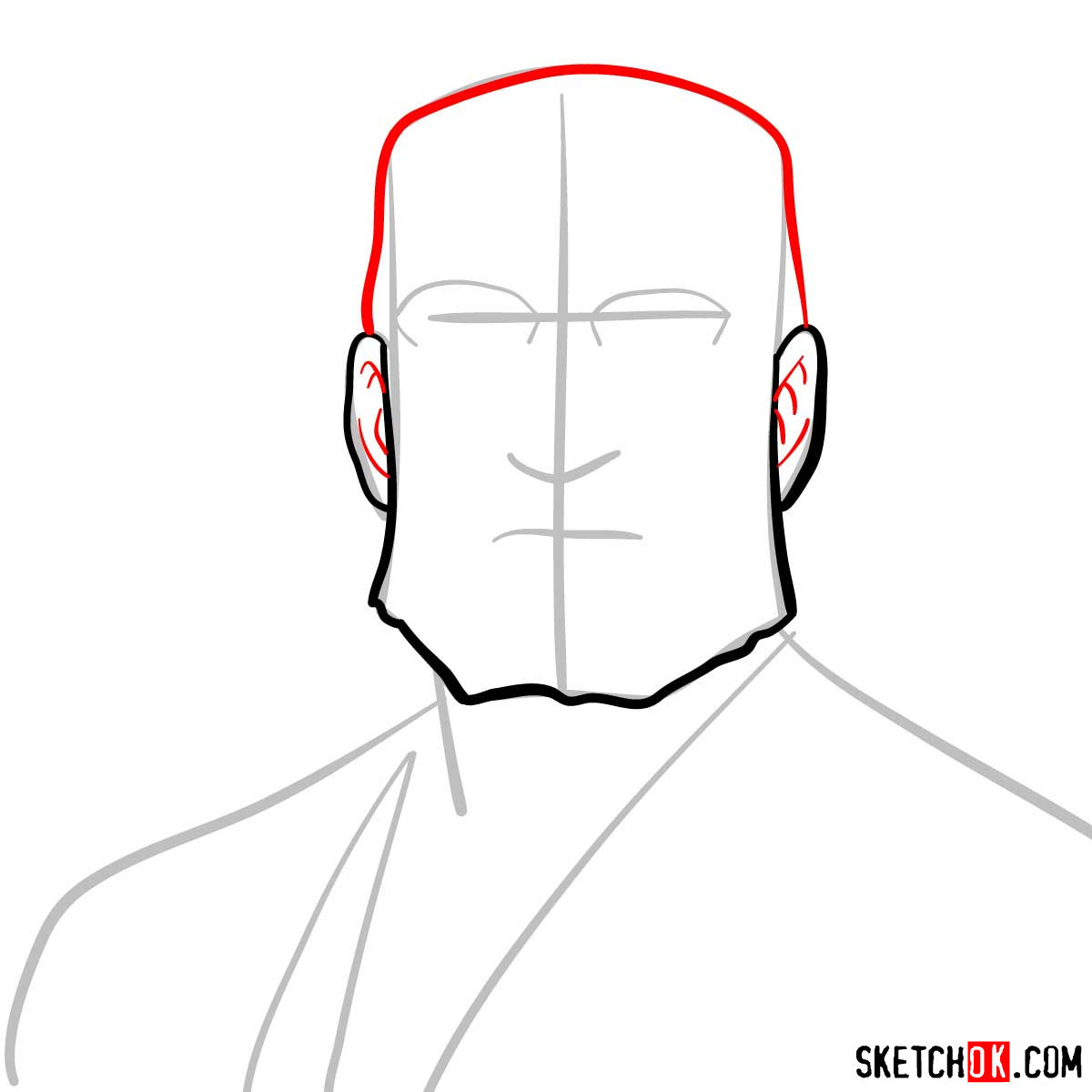How to draw Van Hohenheim from Fullmetal Alchemist anime - step 04