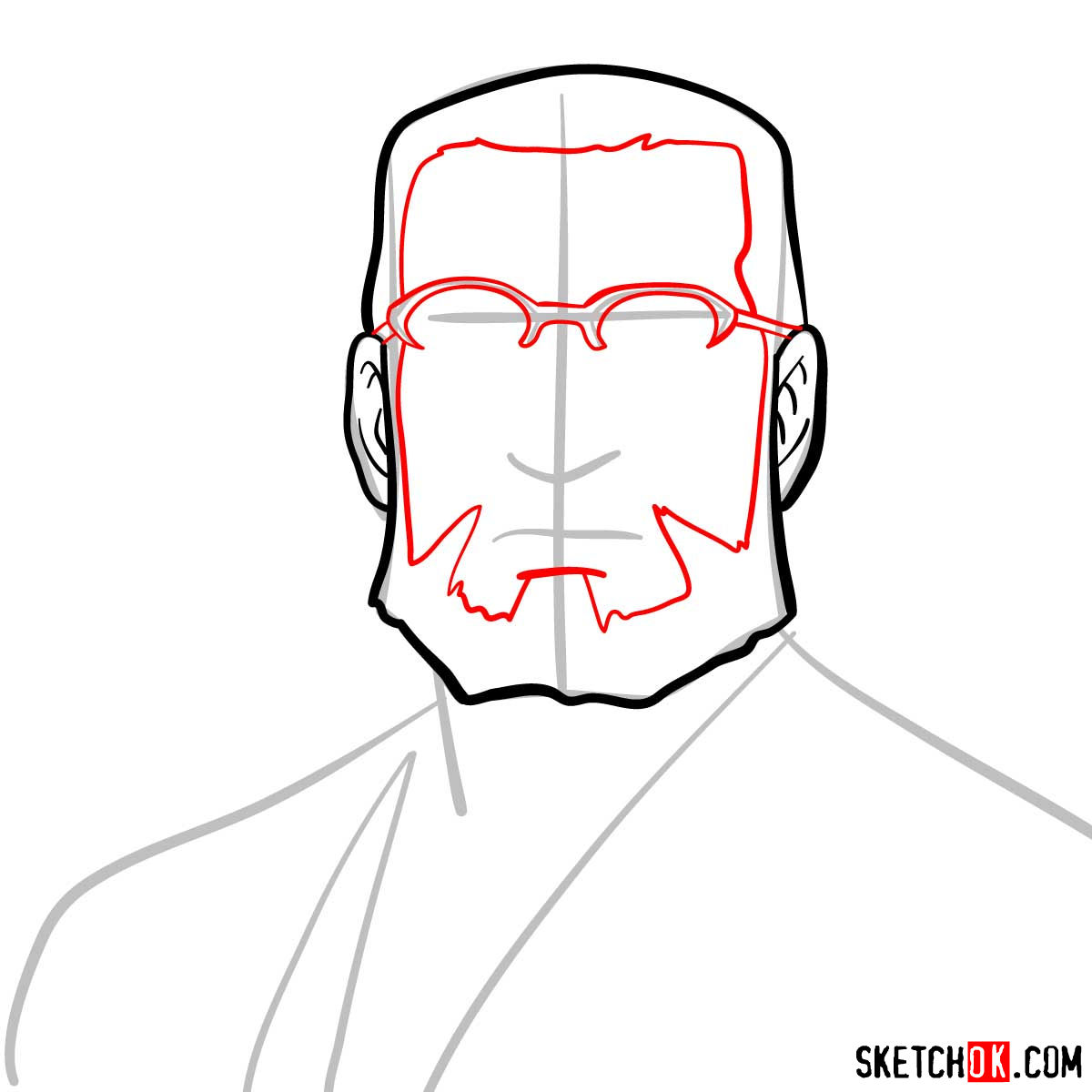 How to draw Van Hohenheim from Fullmetal Alchemist anime - step 05
