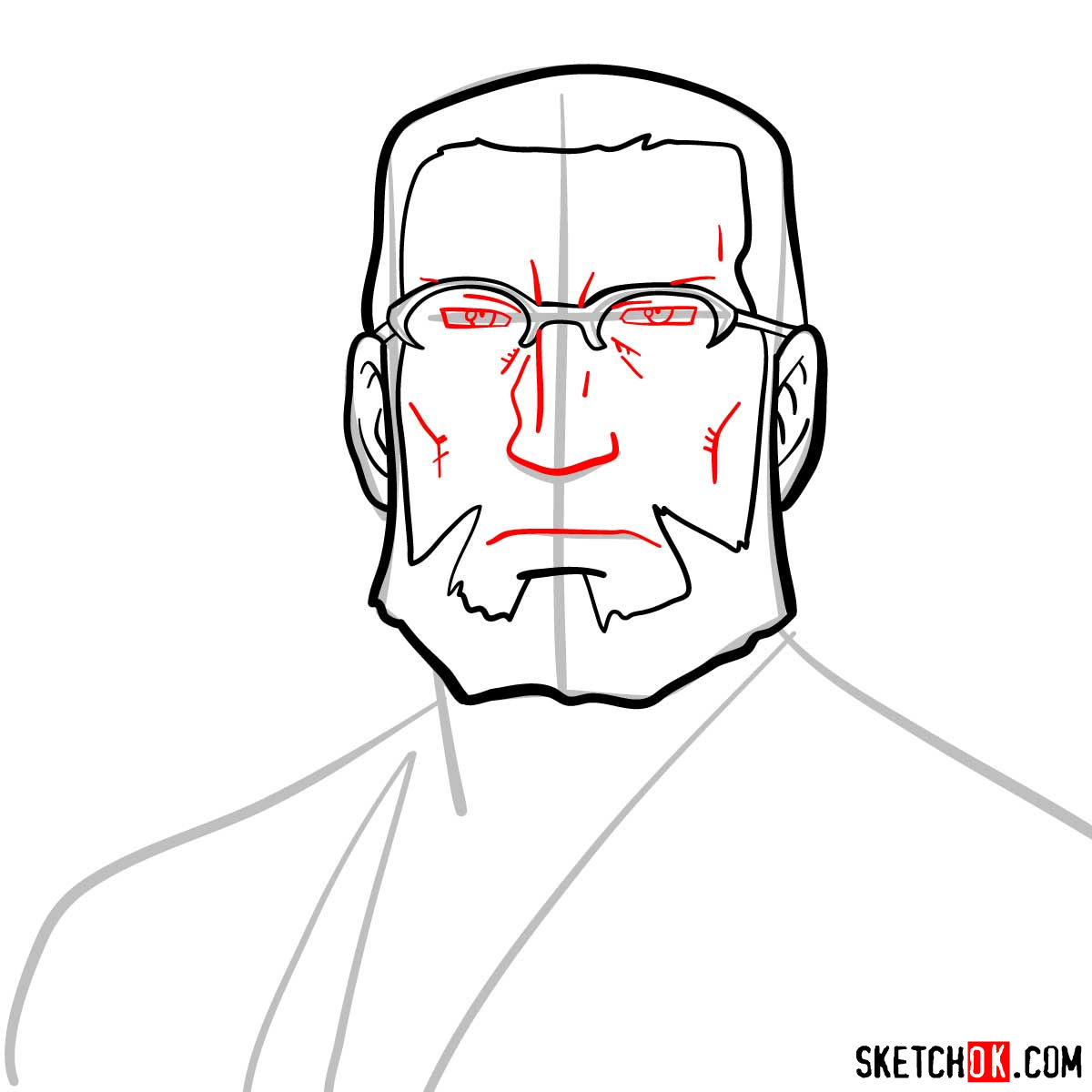 How to draw Van Hohenheim from Fullmetal Alchemist anime - step 06