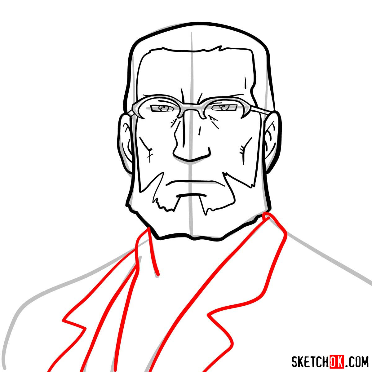 How to draw Van Hohenheim from Fullmetal Alchemist anime - step 07