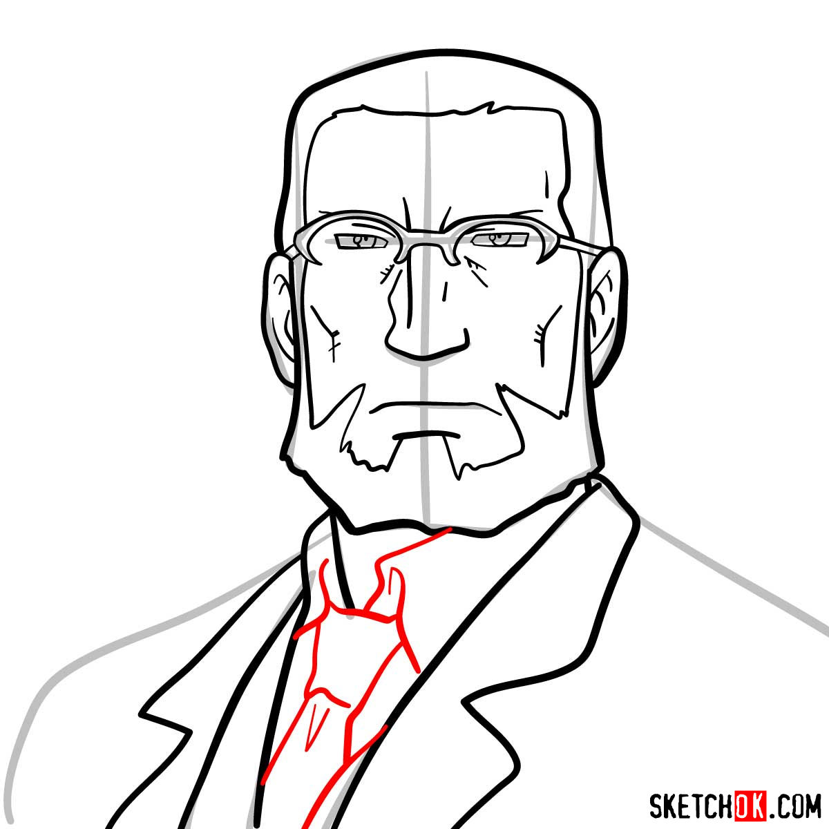 How to draw Van Hohenheim from Fullmetal Alchemist anime - step 08